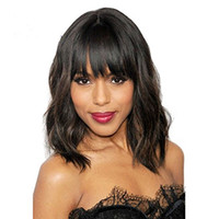 Wholesale glueless full lace wavy bangs wigs for sale - Group buy Wet wavy Bob Lace Front Wigs with Bangs Black Human Hair Lace Frontal Wigs Glueless Human Hair Wig for Black Women