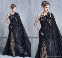 Wholesale Sexy One Pieces Party Wear - Tony Chaaya 2017 Black Long Formal Stunning Detail Prom Party Dresses with Ribbon Middle East Arabic Mermaid Occasion Dress Evening Wear