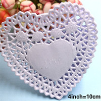 Wholesale Paper Doilies Heart - Wholesale- SS16047a Heart Shape Lace Flower Paper Doilies Placemat Crafts for DIY Scrapbooking Card Making Wedding Table Decoration 10cm