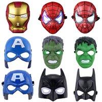 Wholesale Iron Masquerade Masks Wholesale - Avengers Luminous LED Mask Children Cartoon Captain Spiderman Iron Man Green Giant Masquerade Masks Halloween Party Toys Gifts Free DHL 329