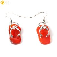 Wholesale Earring Slipper - CSJA 2017 New Summer Beach Slipper Shoes Jewelry Fashion Girls Natural Stone Beads Red Turquoise Agate Dangle Chandelier Earrings E164 B