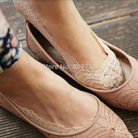 Wholesale Cheap Cool Socks - Wholesale- Summer Cool Low Cut Invisible Antiskid Slippers Shallow Mouth Thin Lace Socks women 2015 Hot Fashion Cheap Drop Free