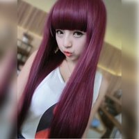 Wholesale Bangs Lace Wig Red - 1pcs Long Straight Cosplay Wine Red Synthetic Lace Front Wig Heat Resistant None Lace Hair Full Wig with Neat Bangs