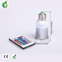 Wholesale 12 Months Live - E27 GU10 MR16 RGB LED Spotlight 5W 9W LED Bulbs Wedding Decoration Lamps with Remote Control 12 Months Warranty