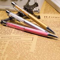 Wholesale Touch Ballpen - Wholesale-1 pcs Cute Crystal Pen Diamond Ballpoint Pens Stationery Ballpen Crystal Stylus Pen Touch Pen