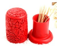 Wholesale Gift Toothpick Holder - Wholesale- Chinese wind characteristics Toothpick Holders Storage Box carved lacquer peonies handmade art Home Decor business Gifts