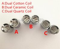 Wholesale Changeable Atomizer Coil - Updated Dual Quartz Rod wax Coil ceramic rod replacment Core head atomizer changeable wax dual coil for Cannon Bowling Vase Glass Globe Tank
