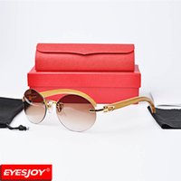 Wholesale C Decor - C decor Rimless mens designer Sunglasses luxury real Sandalwood wood retro brand Sunglasses with Red Box