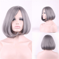 Wholesale Short Wigs Wholesale - Short Curly Granny Grey Hair Wigs for Black Women Fashion Heat Resistant Synthetic Wig