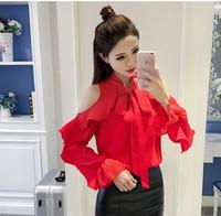 Wholesale Korean Garments Red - New Arrival Fashion Korean Chiffon Elegant Loose Flounce Princess Long Sleeve Shirt Render Bowknot Red Unlined Upper Garment Chiffon Shirts