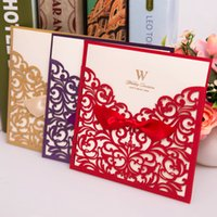 Wholesale Laser Cut Wedding Invitations China - Wholesale-50pcs Vintage Wedding Supplies China Elegant Luxurious Wedding Invitations Laser Cut Wedding Invitation Card Red Wishmade