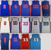 Wholesale Red Bills - Retro 10 Dennis Rodman Jersey 11 Isiah Thomas 40 Bill Laimbeer 4 Joe Dumars 33 Grant Hill 0 Andre Drummond 1 Reggie Jackson Blue With Name