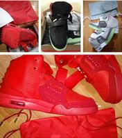 saco de tênis de basquete venda por atacado-Red October 2019 Kanye West Tênis De Basquete com saco de pó e caixa de originais tamanho eur 36-47 frete grátis e atacado
