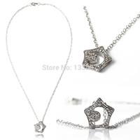 Wholesale Kissing Star - Wholesale-2016 2pcs Korean Drama Boys Over Flowers Kissing Star Hollow Moon Crystal Necklace Pendant