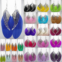 ailes d'ange emplumées achat en gros de-Boucles d'oreilles en plumes 24 couleurs en gros lots Cute Angel Wing Charm Light Dangle Eardrop (White Hot Pink Sand Light Blue Lavender Camel) (JF003)