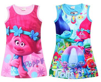Wholesale Cartoon Beach Shorts - 20PCS Girls Trolls Poppy dress Branch princess dress Children trolls cartoon short sleeves Pajamas dresses Kids clothes tutu dress TY30