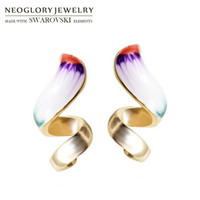 Wholesale Neoglory Statement - Neoglory Enamel Ethnic Colorful Geometric Charm Statement Earrings For Lady Sale Trendy India Design Jewelry Vintage Gift