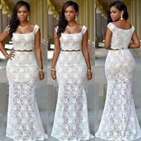 Wholesale Lace Dinner Gowns - New Arrival Two Piece African Prom Dresses 2017 Bridal Outfits Dresses Evening Wear Party Gowns Dinner Reception Dress