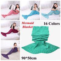 Wholesale Handmade Children - 16 Colors 90*50cm Kids Handmade Knitted Mermaid Blankets Mermaid Tail Blanket Crochet Blanket Throw Bed Wrap Sleeping Bag CCA7356 100pcs