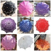 Wholesale Umbrella Photography - 45ta White Embroidery Lace Parasol Cotton Umbrellas Wooden Long Handle Umbrella Hooked Sunny Bumbershoot For Wedding Decorate Photography