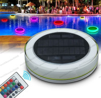 Wholesale Underwater Solar Lights - 2017 NEW Solar LED Underwater Light RGB Swimming Pool Lamp Power Pond Romantic Floating IP68 Waterproof LED Outdoor Light Remote Control MYY