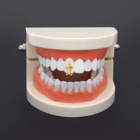 Wholesale Top Fashion Gold Crosses - New Silver Gold Plated Cross Hip Hop Single Tooth Grillz Cap Top & Bottom Grill for Halloween Fashion Party Jewelry