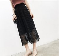Wholesale Summer Lace Legging Female - 2017 Culottes Female Summer Lace Stitching ,Straight,Relaxed,Pleated ,Elastic Waist,Casual Wide Leg Trousers