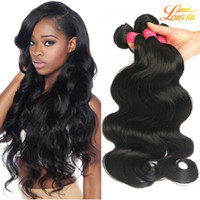 Wholesale Brazilian Virgin Huamn Hair - Brazilian Virgin Hair Body Weave Unprocessed Brazilian Huamn Hair Bundles 100% Peruvian Indian Malaysian Body Wave Remy Hair Extensions 1b