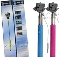 Wholesale cable take pole plus resale online - Monopod Extendable Self Timer Handheld With Cable Z07 plus With Groove Cable Take Pole Monopod selfie stick For Iphone Samsung s5