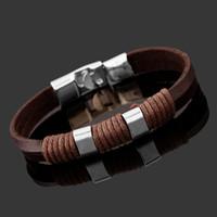 Wholesale Hand Made Leather Wrap Bracelets - Luxury Designer Hot Women Mens Hand Made Personalized Metal Bangle Jewelry Genuine Leather Wrap Men's Bracelets Wholesale