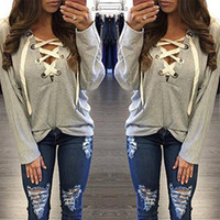 Wholesale Lace Hooded - Women Sweatshirt 5 Colors Long Sleeve Lace Up Hooded Sweatshirt Deep V Neck Autumn Sexy Casual Pullover Sudaderas Mujer Clothes W880414