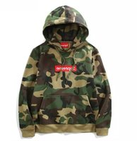 Wholesale High Neck Hooded Sweatshirts - sup 2017 Europe American High Quality Red Camo camouflage Green Hoody Box Logo Fashion Men Women Casual Sweatshirt Streetwear Hooded Hoodie