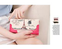 Wholesale Handbag Usa Flag - BFFA167 Wallet Long Design USA UK Flag Paris Tower Women Wallets PU Leather High Grade Clutch Bag Zipper Coin Purse Handbag