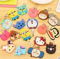 Wholesale Key Cap Owl - Hot sale New Cartoon Anime Silicone Cute Hello Kitty Owl Cover Key Cap Fashion Keychain Ring Key Holder Gifts