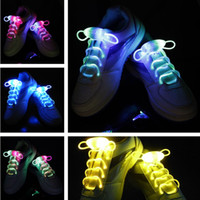 Wholesale 2017New Light Up LED Shoelaces Fashion Flash Disco Party Glowing Night Sports Shoe Laces Strings Multicolors Luminous colors piece pair
