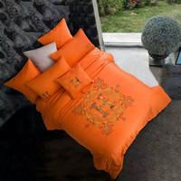 Wholesale Egyptian Sheet - Wholesale- NEW Cool Egyptian cotton Hotel Queen King Size luxury Orange Bedding Sets duvet cover Falt Sheet Pillow cases