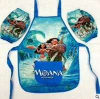 Wholesale Wholesale Painting Apron - Moana Cartoon Apron Kids Childrens Cartoon Character Waterproof Cooking Art Painting Smock Apron+Oversleeve Christmas Gift 3-8Y 880