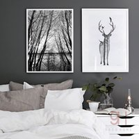 Wholesale Deer Canvas - Nordic Style Forest Canvas Art Print Painting Poster, Deer Wall Pictures for Home Decoration, Wall Decor BW001