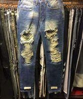 Wholesale Motor Jeans - Popular Cut Ripped patchwork men jeans Hiphop Vaqueros Hombre Stretch Slim Hi-Street Justin Men pants Broken holes motor Trousers