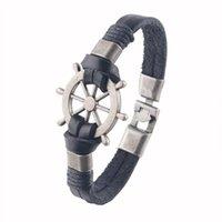 Wholesale Vintage Compass Charm - Wholesale- AMOURJOUX 2016 Fashion Jewelry Vintage Gold Silver Boat Compass Charm Cow Leather Bracelet Anchor For Men Women Party Gift