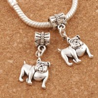 Wholesale Antique Bulldog - English Bulldog Charm Big Hole Beads 100pcs lot 13.2x28mm Antique Silver Dangle Fit European Bracelets Jewelry DIY B108