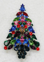 rhinestone jewelry christmas tree brooch NZ - 12pcs lot Wholesale Multicolour Drop Marquise Crystal Rhinestone Christmas tree Pin Brooch Christmas gifts Jewelry Brooches pin C552