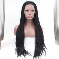Wholesale Straight Micro Braid Hair - Black Straight Braid Synthetic Lace Front Wigs Black Micro Box Braided Glueless Heat Resistant Fiber Hair Piece