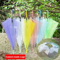 Wholesale Transparent Clear Umbrella Wholesale - Transparent Clear EVC Umbrella Fashion Dance Performance Long Handle Rainbow Umbrellas Beach Wedding Colorful Rain Protective Umbrella
