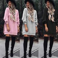 Wholesale Women S Long Sweater Tunics - Autumn Fall Pink Gray Black sweater Dress Women Long Sleeve Loose Sweatshirt Tunic Dresses Casual Street Long Tops Vestido