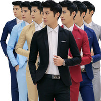 Wholesale Korean Groom - Wholesale- Fashion Custom made Jacket Formal Dress Mens Suit Set men casual wedding suits groom Korean Slim Fit Dress (coat)