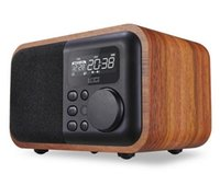Wholesale Mp3 Player Alarm Clock Radio - Luxury iBox D90 Multimedia Wooden Bluetooth Microphone Speaker with FM Radio Alarm Clock TF USB MP3 Player Wood Stereo Subwoofer