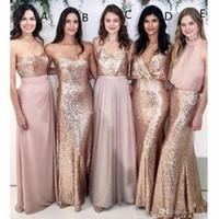 lentejuelas de oro rosa vestidos de dama de honor al por mayor-Modest Blush Pink Vestidos de dama de honor para bodas en la playa con lentejuelas de oro rosa mal emparejadas Vestidos de dama de honor Vestido formal para mujeres 2019