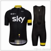 Wholesale maillot sky pro cycling - 2016 Sky Cycling Jersey Short Sleeve Jersey Bib Shorts Set Pro Team Sky Cycling Clothing Maillot Bike  Bicycle Wear For Anti Wrinkle