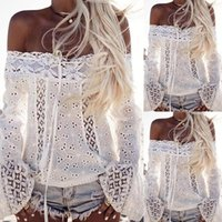 Wholesale Wholesale Women Clubwear - Summer Women Sexy White Embroidery Lace Crop Top Plus Size Clubwear Flare Sleeve Clothing